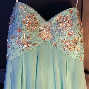Beautiful Turquoise Bedazzled Dress